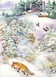 Vinterlandskap med ett hus och en räv Arkivfoto