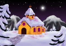 Vinterlandskap med ett kapell 2016 Arkivfoto
