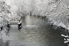 Vinterlandskap med floden Arkivfoton