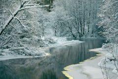 Vinterlandskap med floden Arkivbilder