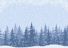 Vinterlandskap med granträd och snö Arkivfoto