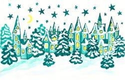 Vinterlandskap med hus i blåa färger Arkivfoton