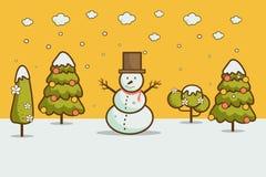 Vinterlandskap med julgranar, snögubbear, Royaltyfri Fotografi