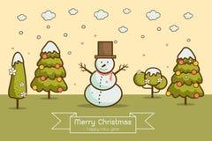 Vinterlandskap med julgranar, snögubbear, Fotografering för Bildbyråer