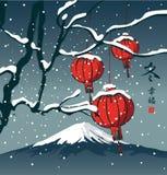 Vinterlandskap med kinesiska pappers- lyktor vektor illustrationer