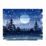 Vinterlandskap med månen och snö Fotografering för Bildbyråer