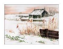 Vinterlandskap med staketet royaltyfri illustrationer