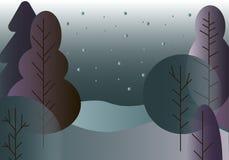 Vinterlandskap med träd vektor illustrationer