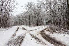 Vinterlandskap med tvärgator Royaltyfria Bilder
