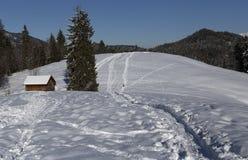 Vinterlandskap och en ladugård Royaltyfri Fotografi