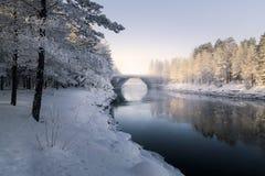 Vinterlandskap på den mörka kanalen Royaltyfri Bild