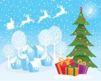 Vinterlandskap på julnatt Arkivfoto