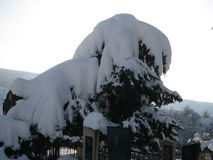 Vinterlandskap på utkanten av Sheki royaltyfri fotografi