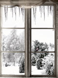 Vinterlandskap som beskådas till och med fönster Arkivbild