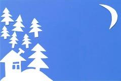Vinterlandskap som snidas ut ur papper Royaltyfri Fotografi