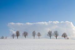 Vinterlandskap under blå himmel Royaltyfri Bild