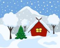 Vinterlandskap, vektorillustration Tecknad filmlägenhetstil royaltyfri illustrationer