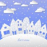Vinterlandskapbakgrund lät det snöa Royaltyfri Foto