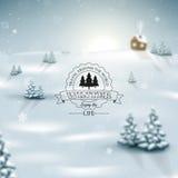 Vinterlandskapbakgrund med snöflingor Arkivfoton