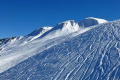 Vinterlandskapet i Stoos, skidar område Fotografering för Bildbyråer