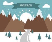 Vinterlandskapet med berg-, snö- och inskriftvinter reser stock illustrationer