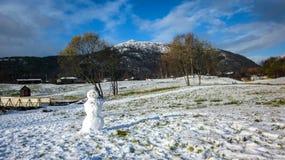 Vinterlandskapet med en kuslig snögubbe som bara står i ett snöig, parkerar och berget royaltyfri fotografi