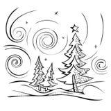 Vinterlandskapet skissar den stiliserade vektorn vektor illustrationer