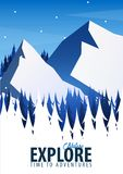 Vinterlopplandskap Skogträn med berg också vektor för coreldrawillustration royaltyfri illustrationer