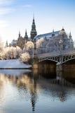 Vintermorgon i Stockholm fotografering för bildbyråer
