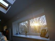 Vintermorgonsolsken royaltyfri fotografi