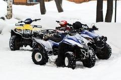 Vintermotorcykel Snowmobile Vinter ATVs Royaltyfri Foto