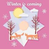 Vintern är det kommande hälsningkortet med foxs och träd royaltyfri illustrationer