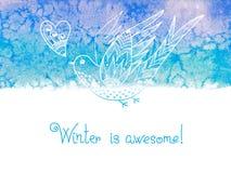 Vintern är enorm Vattenfärgvinterbakgrund Fotografering för Bildbyråer