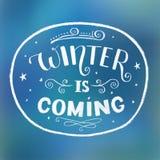 Vintern är kommande - den perfekta inskriften för kort, tryck och stolpe stock illustrationer