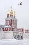 Övervintra i Moscow. Novodevichy kloster Arkivbilder
