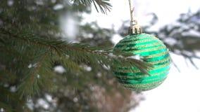 Vintern jul, gran förgrena sig under snön, jul formar på filialerna av granen HD arkivfilmer