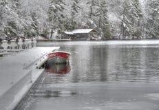 Vintern kommer till sjön royaltyfria bilder