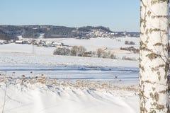 Vintern landskap i bavaria arkivfoto