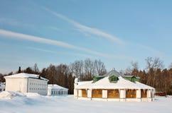 Vintern landskap i det gammala tidgodset Arkivfoton