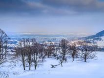 Vintern landskap med byn Fotografering för Bildbyråer