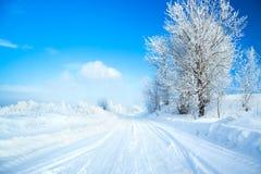 Vintern landskap med vägen royaltyfri fotografi