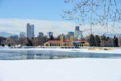 Vintern på staden parkerar Royaltyfri Bild