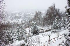 Vintern skidar chalet och kabinen i snöberg Royaltyfri Bild
