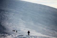 Vintern Ukraina, berget, solnedgången som är carpathian, bergskedja, landskap, turism, snöresa, utomhus, fördunklar himmel, dimma royaltyfri fotografi