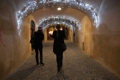 Vinternatt i Brasov Royaltyfria Bilder