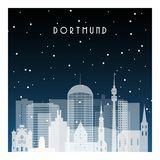 Vinternatt i Dortmund stock illustrationer