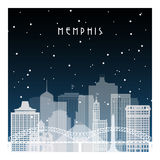 Vinternatt i Memphis Arkivbilder