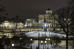 Vinternatt i Moskva, Vladimir royaltyfri foto
