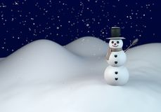 Vinternatt med snögubben Arkivbilder