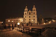 Vinternatt Minsk Arkivfoton
